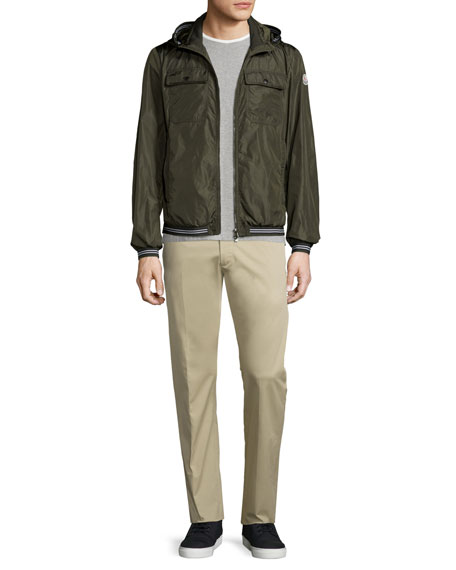 Moncler Jean Luc Hooded Nylon Jacket, Olive