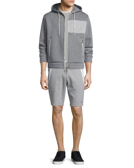 Moncler Neoprene Logo Zip-Up Hoodie, Gray