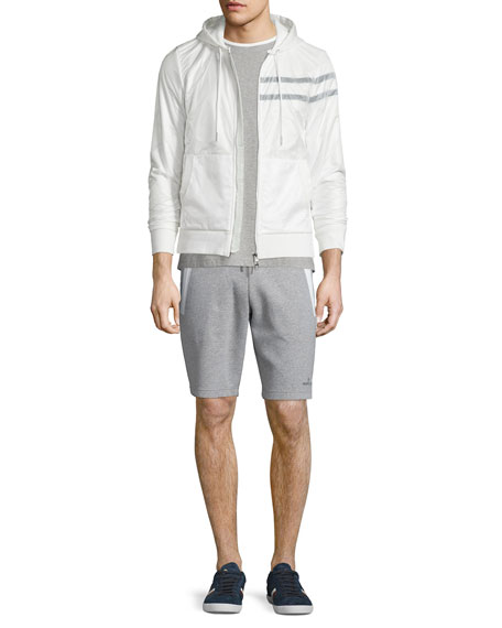 Moncler Nylon Zip-Up Hoodie, White