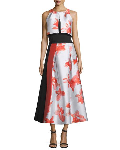 Sachin & Babi Noir Sleeveless Floral-Print Crop Top,