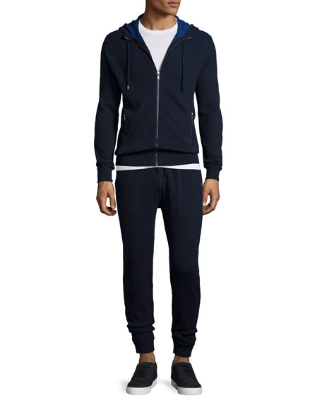 MICHAEL KORSWaffle-Knit Hooded Zip Sweater, Navy