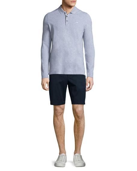 MICHAEL KORS Long-Sleeve Pique Polo Shirt, Gray