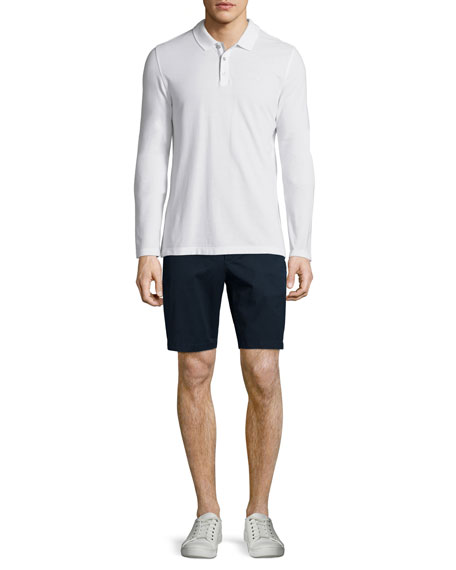 MICHAEL KORS Long-Sleeve Pique Polo Shirt, White