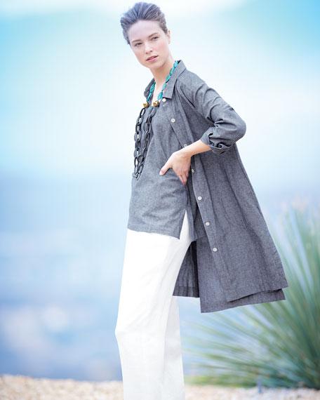 Long-Sleeve Cross-Dye Linen Duster Jacket, Petite