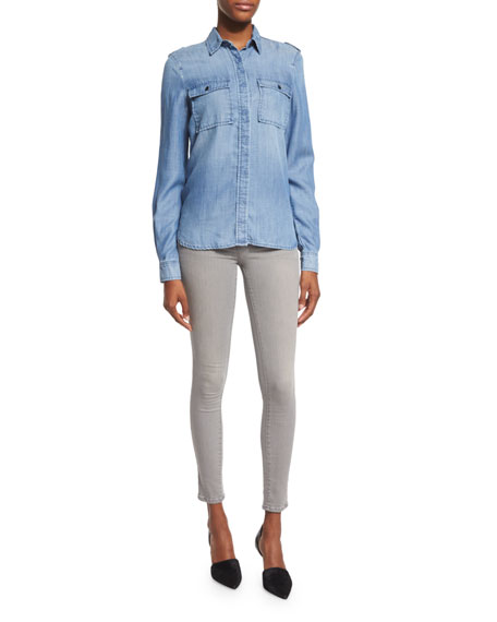 FRAME DENIM Le Military Button-Front Shirt, Lake