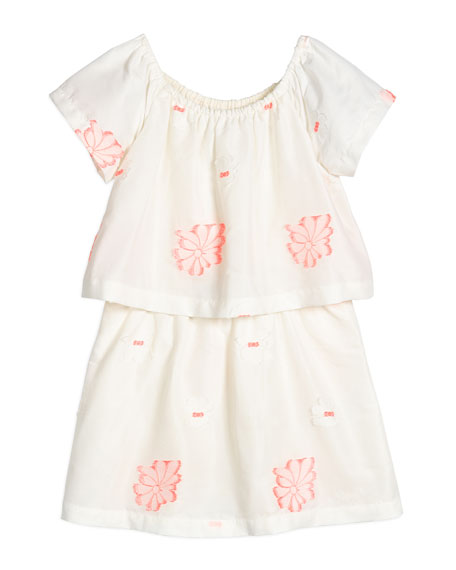 Chloe Short-Sleeve Embroidered Popover Dress, White/Pink, Size