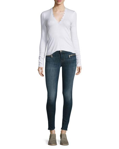 J Brand Jeans Whitmer V-Neck Henley Top, White