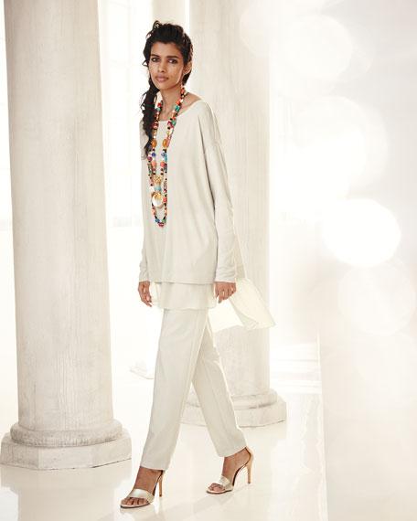 Long-Sleeve Layered Silk Tunic