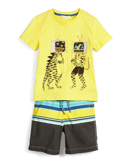 Little Marc Jacobs Short-Sleeve TV-Head Jersey Tee, Yellow,