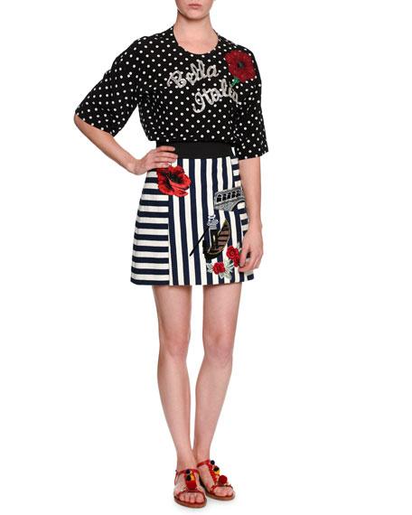 Dolce & GabbanaBella Italia Embellished Dot-Print Blouse,
