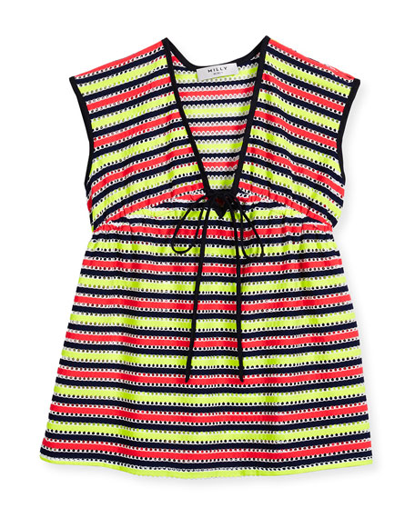 Milly Minis Marina Striped Crochet Coverup, Multicolor, Size