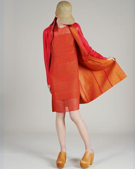 Akris Reversible Leather Long Coat, Rose/Zinnia