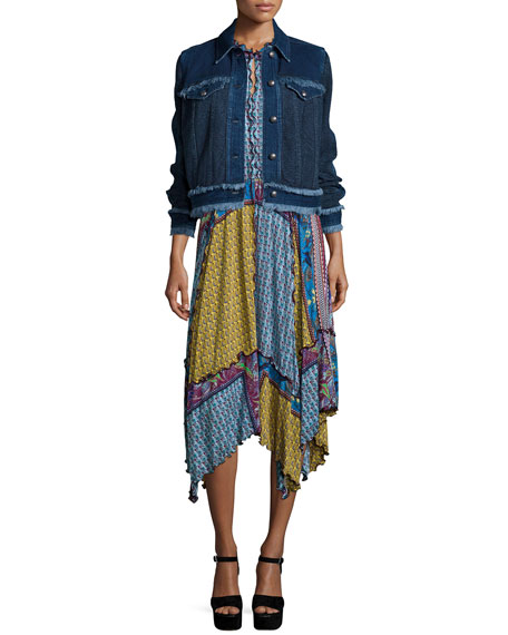 Etro Paisley Denim Jacket W/Fringe Trim, Navy