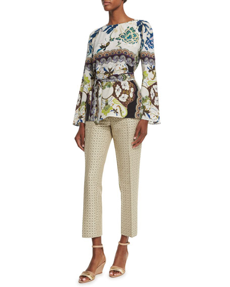 Etro Watercolor Floral-Print Bell-Sleeve Silk Tunic, White