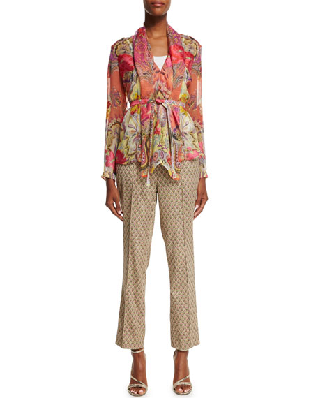 Etro Long-Sleeve Belted Blouse, Orange