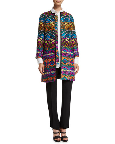 Etro Tribal-Striped A-Line Coat, Embellished-Bug Button-Front