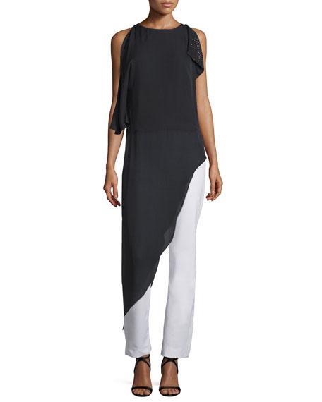 Halston Heritage Sleeveless Long Asymmetric Silk Georgette Top