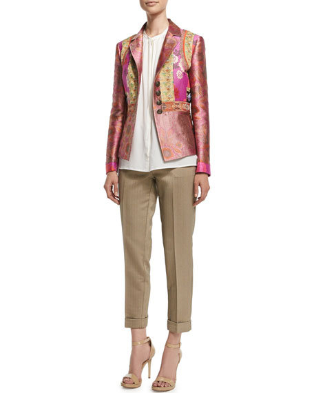 Etro Fitted Button-Front Brocade Jacket, Purple