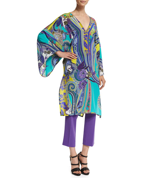 Etro Long-Sleeve Multi-Print Caftan, Navy