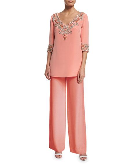 Marchesa 3/4-Sleeve V-Neck Embellished Tunic, Coral