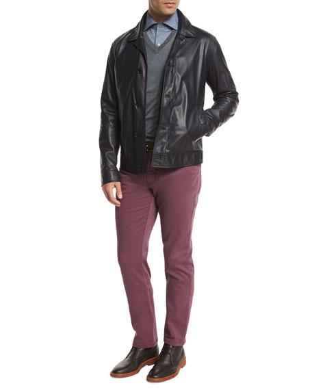 Ermenegildo Zegna Napa Lambskin Leather Jacket, Midnight