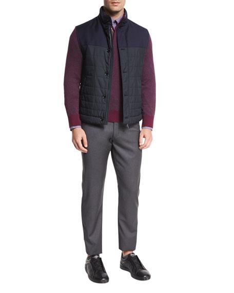 Ermenegildo Zegna Degrade-Paneled Wool Vest, Navy