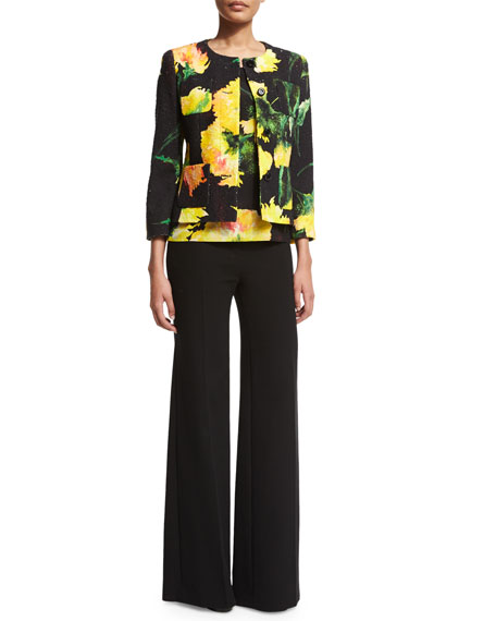 Escada Button-Front Carnation-Print Jacket, Black