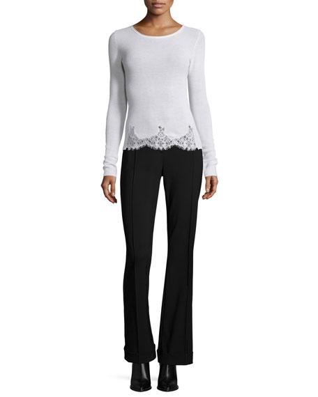 Elie Tahari Long-Sleeve Lace-Trim Sweater