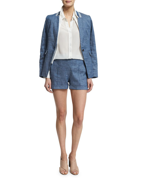 Veronica Beard Orchid Chambray Upcollar Jacket, Blue