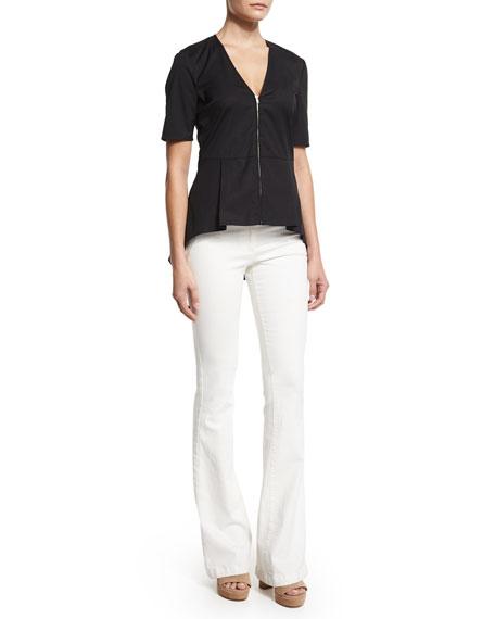 Veronica Beard Meyers Silk Zip-Front Peplum Top, Black