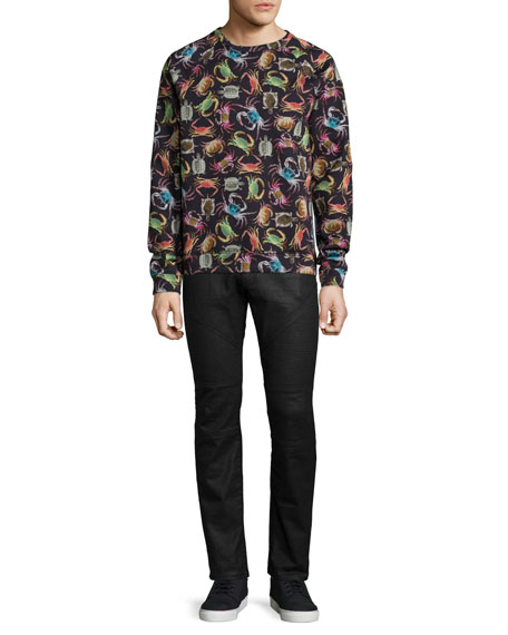 Versace Collection Crab-Print Crewneck Sweatshirt, Black Multi