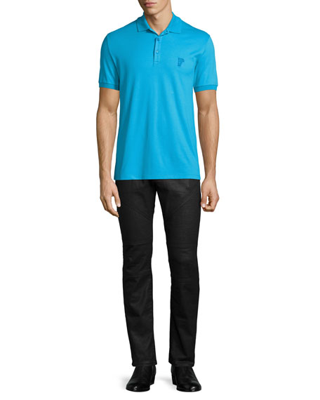 Versace Collection Short-Sleeve Pique Polo Shirt, Blue