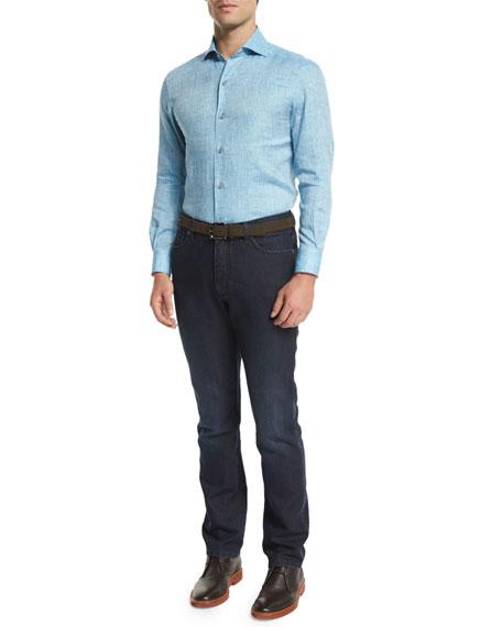 Ermenegildo Zegna Linen Long-Sleeve Sport Shirt, Teal