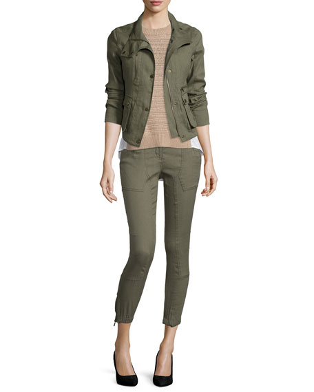 Veronica Beard Everglade Linen-Blend Woven Jacket, Army Green