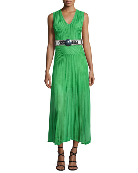 Roberto Cavalli Sleeveless V-Neck Midi Dress, Lime Green