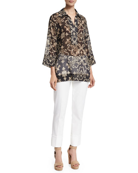 Escada 3/4-Sleeve Printed Tunic, Black