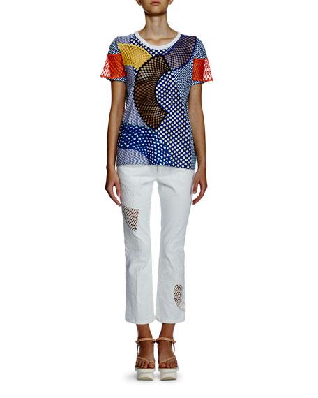 Stella McCartney Short-Sleeve Multi-Print T-Shirt W/Mesh Inset,