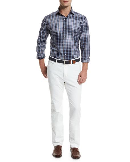 Peter Millar Newport Plaid Long-Sleeve Sport Shirt, Blue