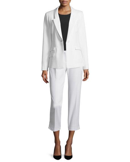 Milly Slim-Fit One-Button Blazer, White