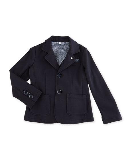 Armani Junior Jersey-Knit Tailored Blazer, Indigo, Size 2-8