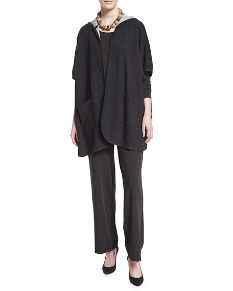 Eileen Fisher Hooded Double-Knit Poncho