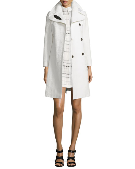 Creatures of the Wind Embellished-Collar A-line Jacquard Coat