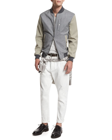 Brunello Cucinelli Mixed-Media Bomber Jacket, Oyster/Gray