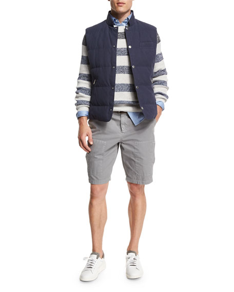 Brunello Cucinelli Fading-Stripe Crewneck Sweater, Fog/Blue