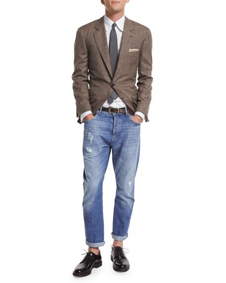 Brunello Cucinelli Flamed Wool-Blend Sport Coat, Brown