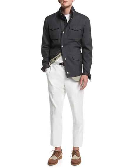 Brunello Cucinelli Sahara Wool Overcoat, Anthracite/Khaki