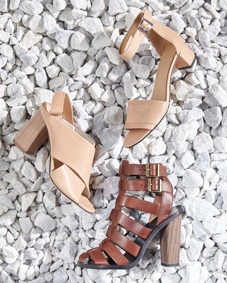 Vince Faine Chunky-Heel Leather Sandal, Nude