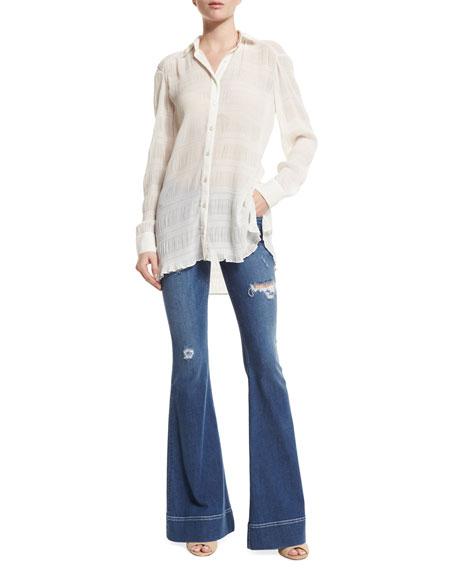 Alice + Olivia Marlee Long-Sleeve Shirred Top, Cream