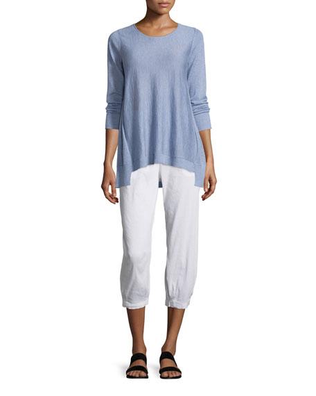 Eileen Fisher Long-Sleeve Sleek Knit Top W/ Step