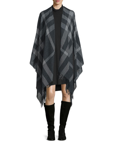 Eileen Fisher Plaid Traveling Scarf/Poncho & Twisted-Neck